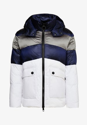 COAT WITH STRIPES AND DETACHABLE HOOD - Winterjacke - white