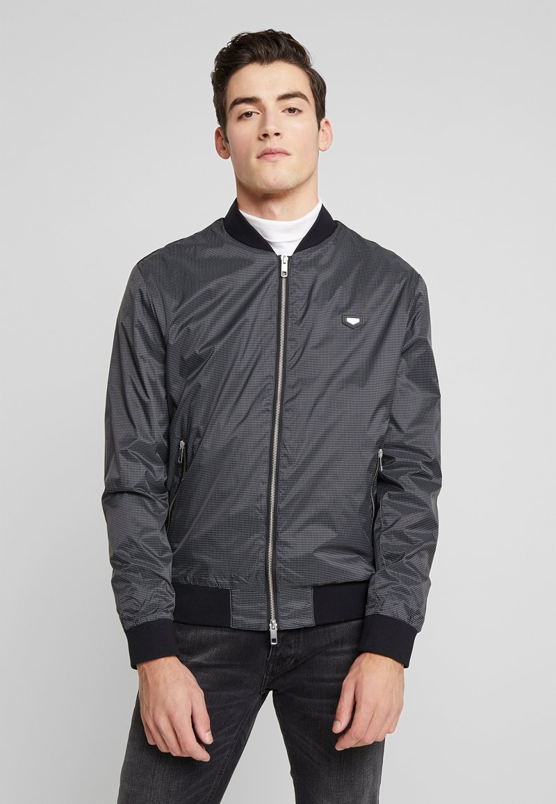 Antony Morato - FRONT ZIP AND TAPE ON SHOULDER - Bomber Jacket - black