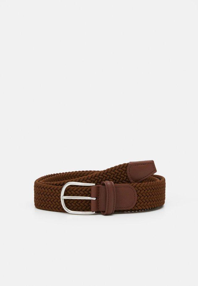 BELT - Pasek pleciony - brown