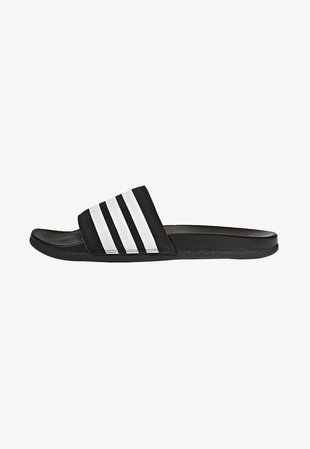 ADILETTE CLOUDFOAM PLUS STRIPES SLIDES - Pantoffels - black/white