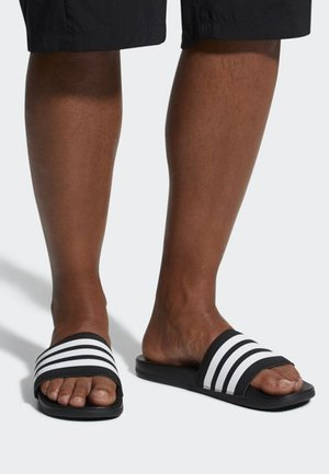 ADILETTE CLOUDFOAM PLUS STRIPES SLIDES - Slippers - black/white