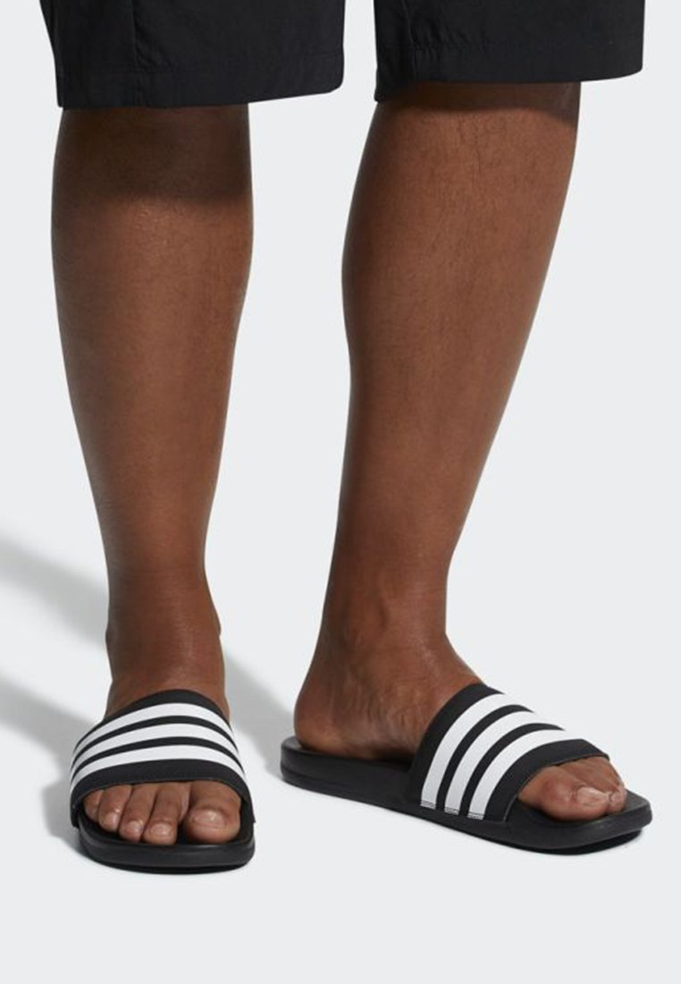 adidas Performance - ADILETTE CLOUDFOAM PLUS STRIPES SLIDES - Slippers - black/white