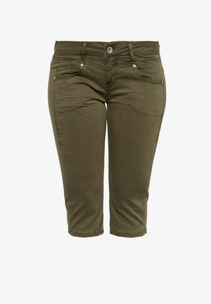 MIT SCHLITZ ZOE - Denim shorts - olivgrün