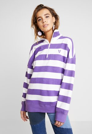 A ZIP UP  - Sweatshirt - white/grape