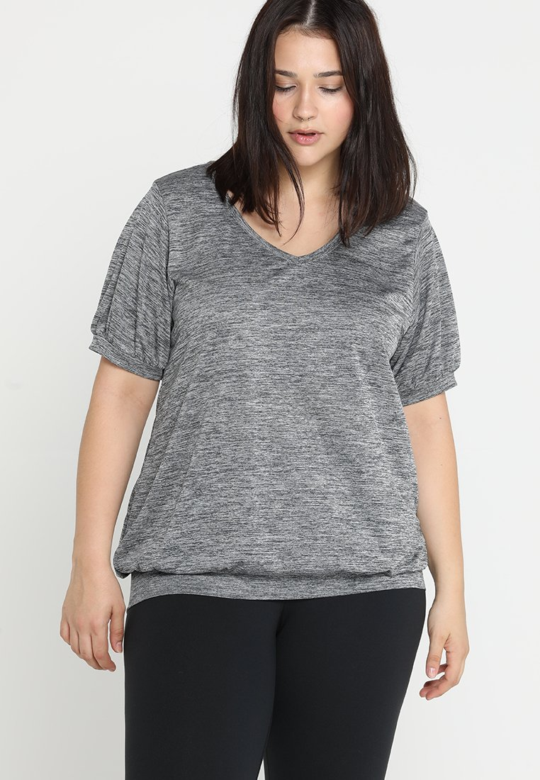 Active by Zizzi - AFRANCISCO - Print T-shirt - dark grey melange