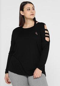 Active by Zizzi - AFIT SHOULDER DETAIL - Langærmede T-shirts - black - 0