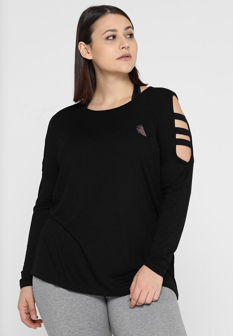 Active by Zizzi - AFIT SHOULDER DETAIL - T-shirt à manches longues - black