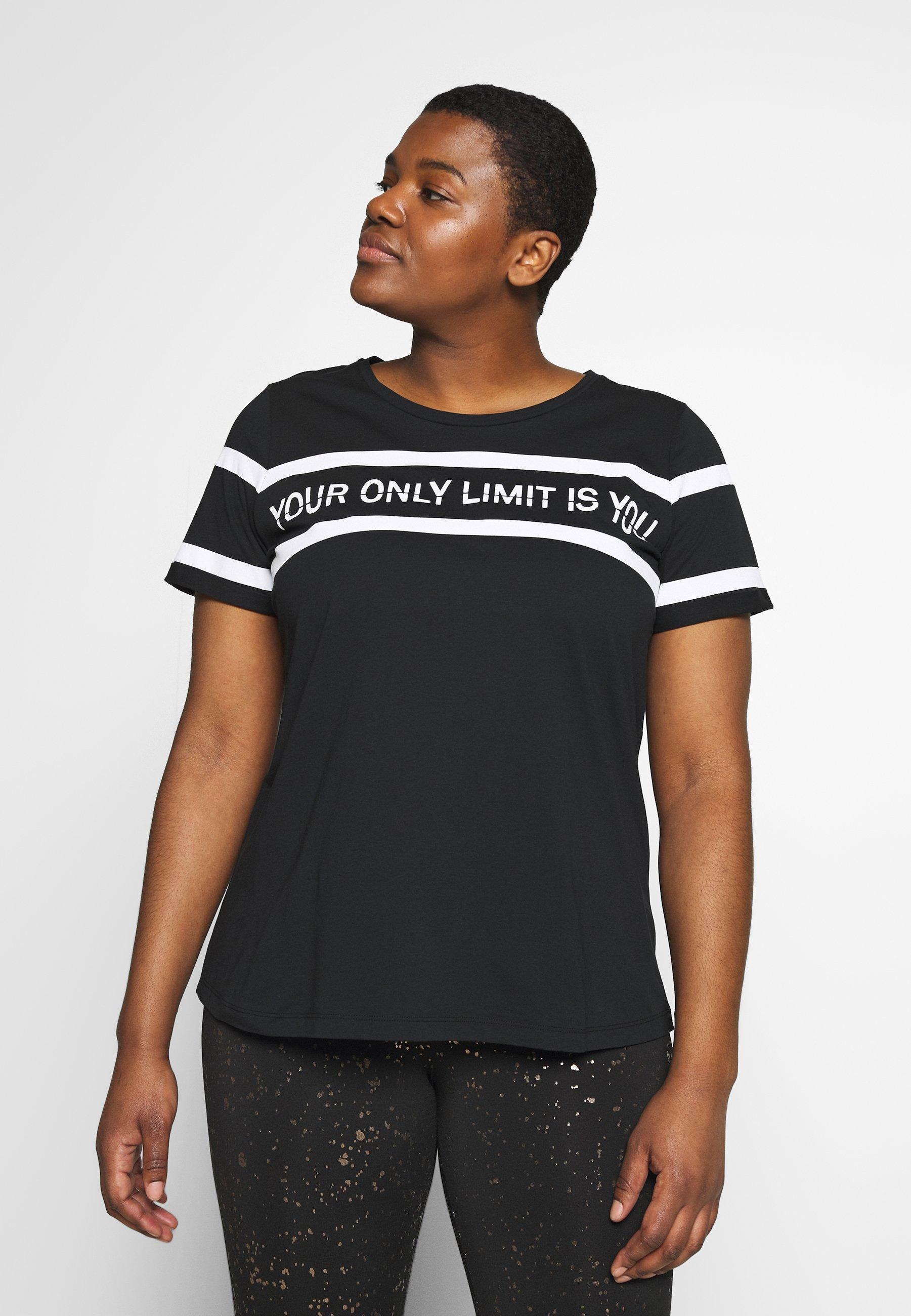 Active by Zizzi AJUMP  - T-shirt med print - black/white - Damkläder Billiga