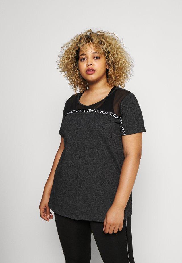 Print T-shirt - black melange