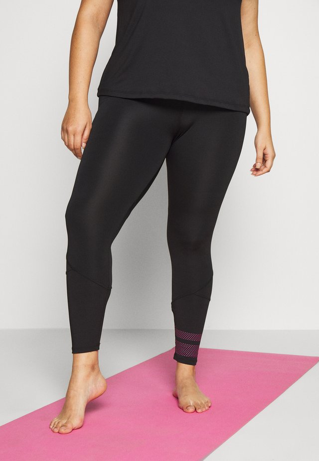 ACASSIA - Leggings - black/neon pink