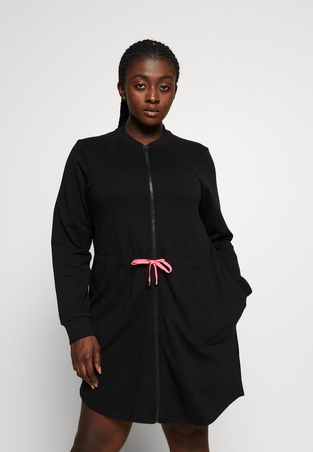 AJUNIP LONG CARDIGAN - veste en sweat zippée - black