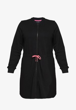 AJUNIP LONG CARDIGAN - veste en sweat zippée - black