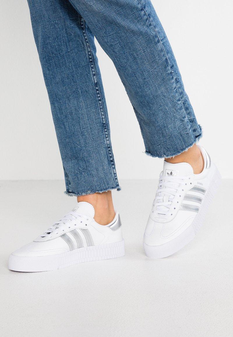 adidas Originals - SAMBAROSE - Trainers - footwear white/silver metallic/core black