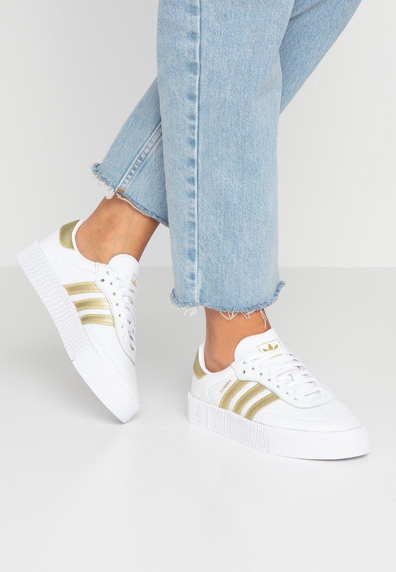 adidas Originals - SAMBAROSE - Trainers - footwear white/gold metallic