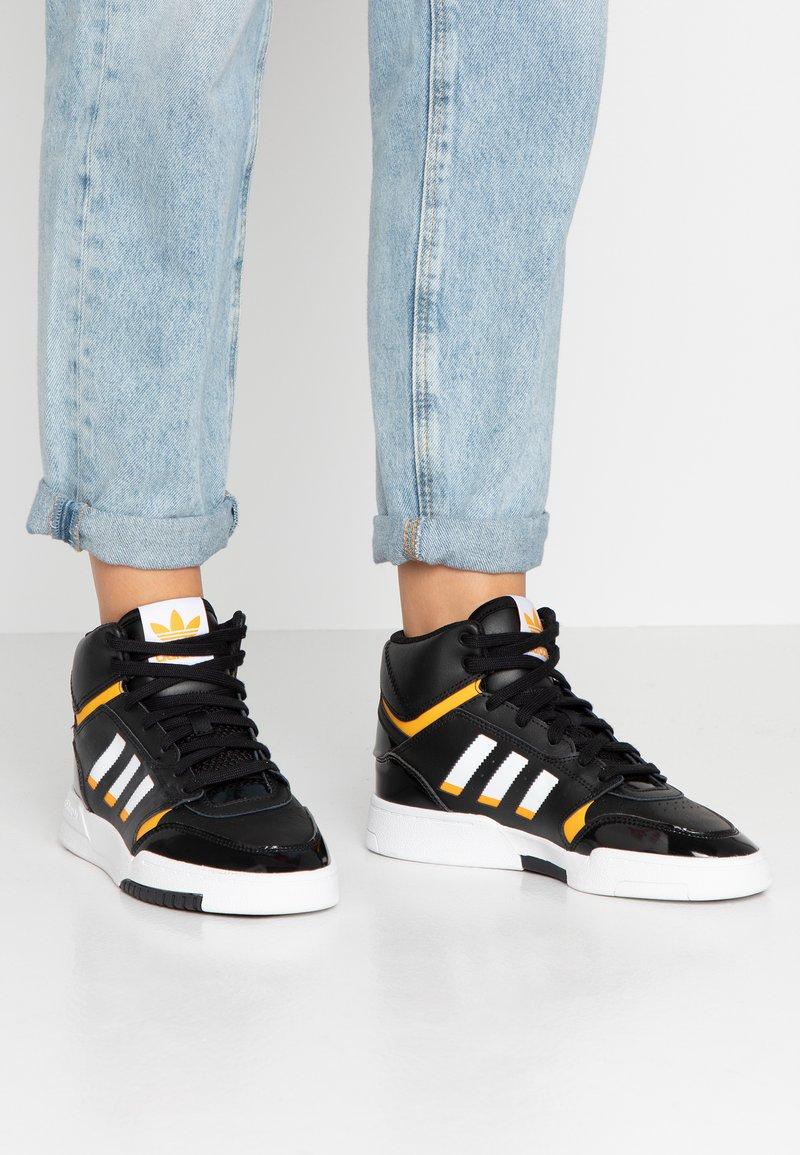adidas Originals - DROP STEP BASKETBALL-STYLE SHOES - Vysoké tenisky - core black/footwear white/gold