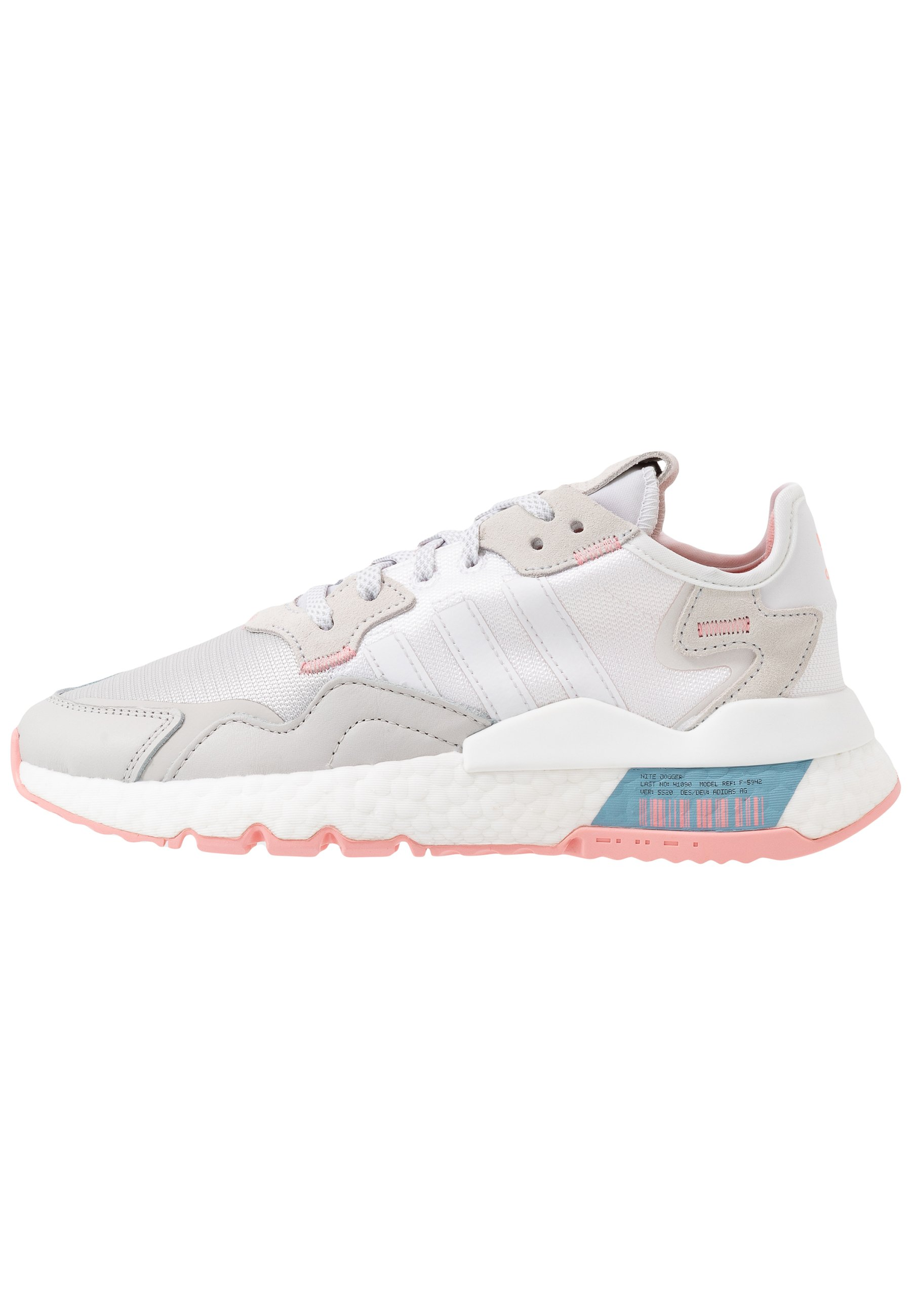 adidas Originals NITE JOGGER - Sneakersy niskie - footwear white/glow pink/grey one