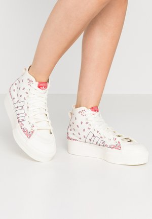 NIZZA PLATFORM MID - Sneakers alte - offwhite/collegiate navy/glory red