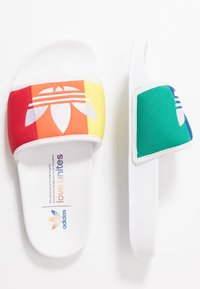 adidas Originals - ADILETTE PRIDE - Klapki - footwear white/orange/scarlet - 1