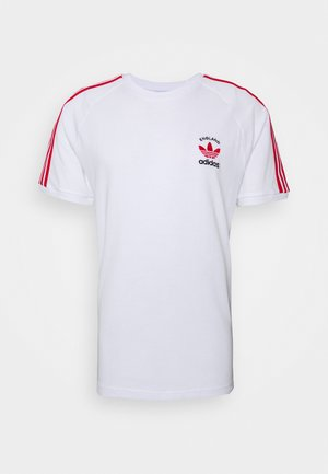 STRIPES SPORTS INSPIRED SHORT SLEEVE TEE - Camiseta estampada - white/scarle