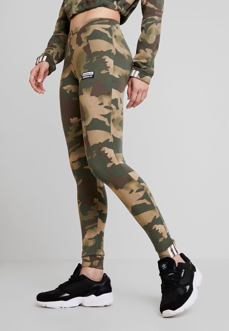 adidas Originals - TIGHTS - Leggings - Trousers - hemp/earth green/base green/cargo brown