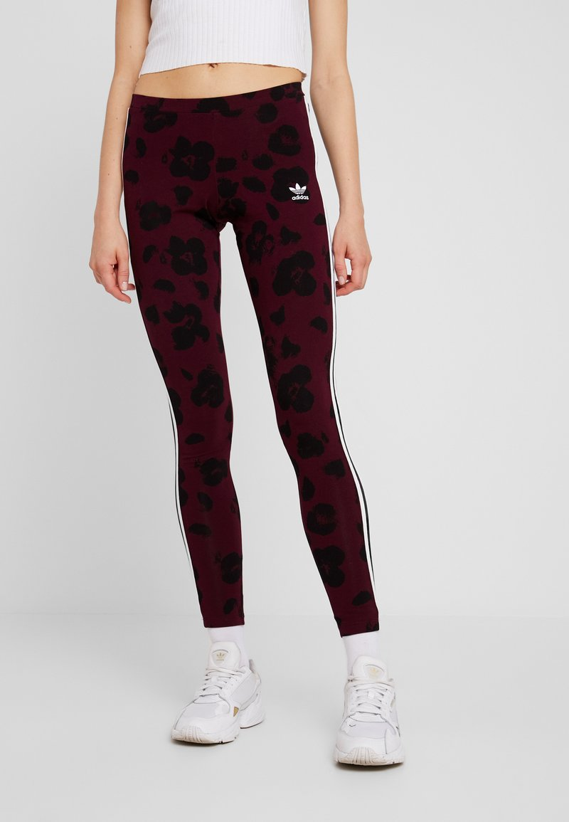 adidas Originals - BELLISTA ALLOVER PRINT TIGHT - Leggings - Trousers - maroon black