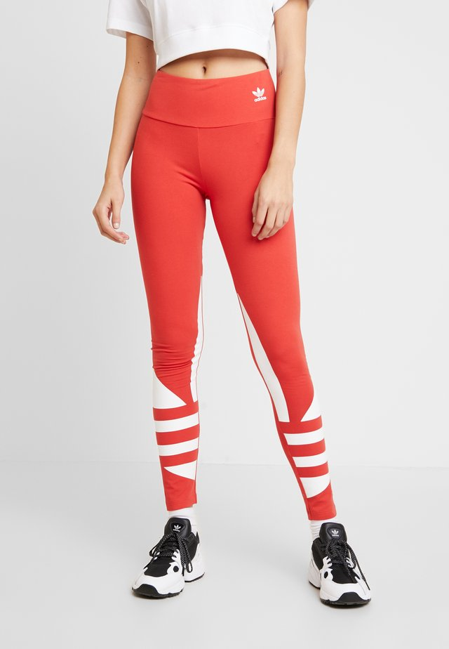 LARGE LOGO ADICOLOR LARGE LOGO TIGHT TIGHTS - Leggings - lush red/white
