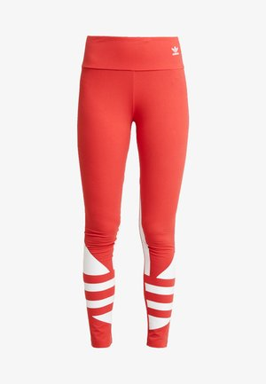 LARGE LOGO ADICOLOR LARGE LOGO TIGHT TIGHTS - Legging - lush red/white