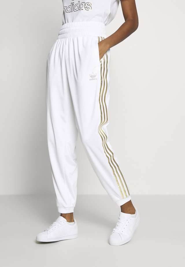 3STRIPES HIGH WAIST TRACK PANTS - Pantaloni sportivi - white