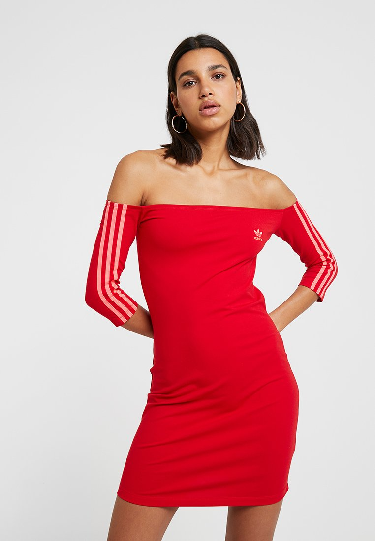 adidas Originals - SHOULDER DRESS - Shift dress - scarlet