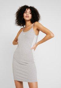 adidas Originals - ADICOLOR SPAGHETTI STRAP TANK DRESS - Shift dress - medium grey heather/white - 0