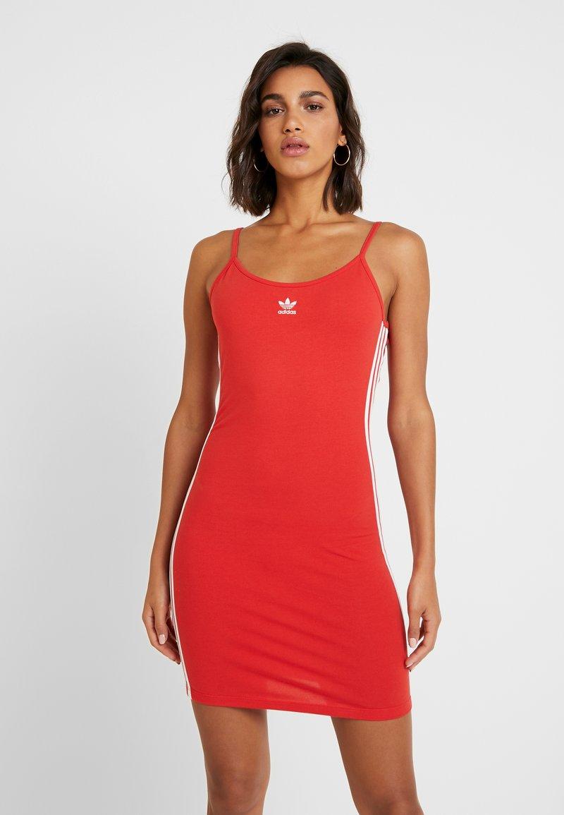 adidas Originals - TANK DRESS - Shift dress - lush red/white