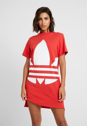 LOGO DRESS - Jersey dress - lush red/white