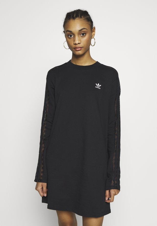 BELLISTA TREFOIL LONGSLEEVE LACE DRESS - Jerseyjurk - black