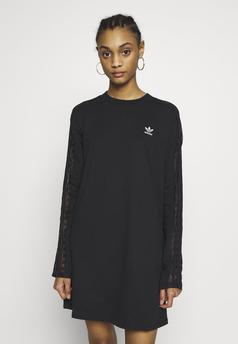 adidas Originals - BELLISTA TREFOIL LONGSLEEVE LACE DRESS - Trikoomekko - black