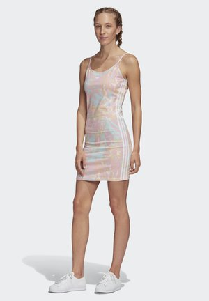 TANK DRESS - Jersey dress - pink/white