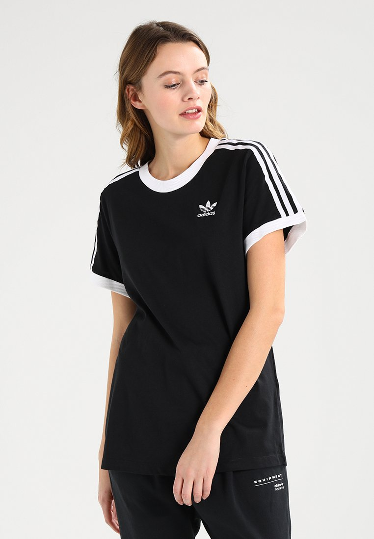 adidas Originals - STRIPES TEE - T-shirt imprimé - black