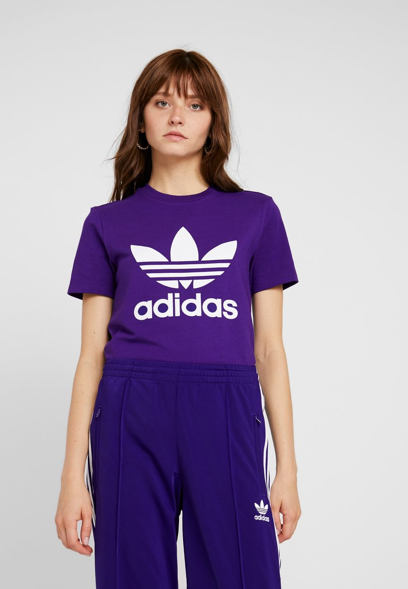 adidas Originals - ADICOLOR TREFOIL GRAPHIC TEE - T-shirt z nadrukiem - collegiate purple