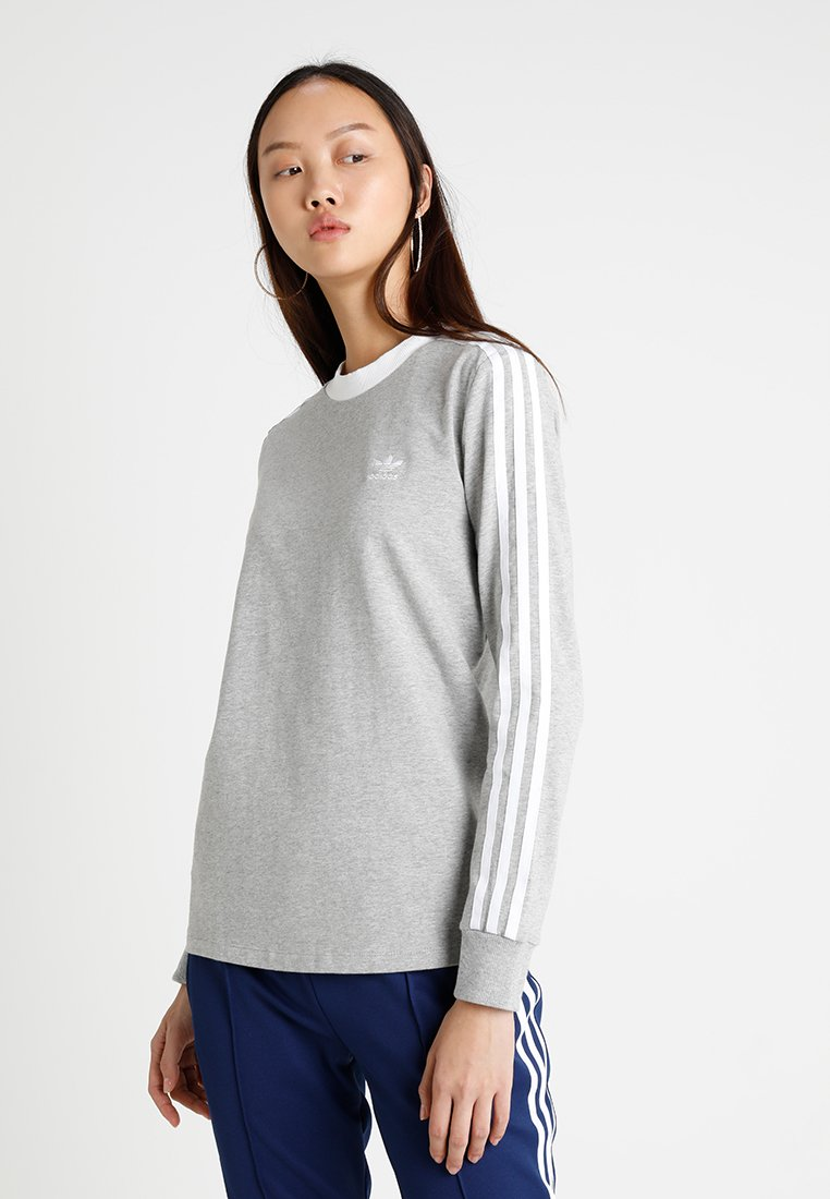 adidas Originals - ADICOLOR 3 STRIPES LONGSLEEVE TEE - T-shirt à manches longues - medium grey heather