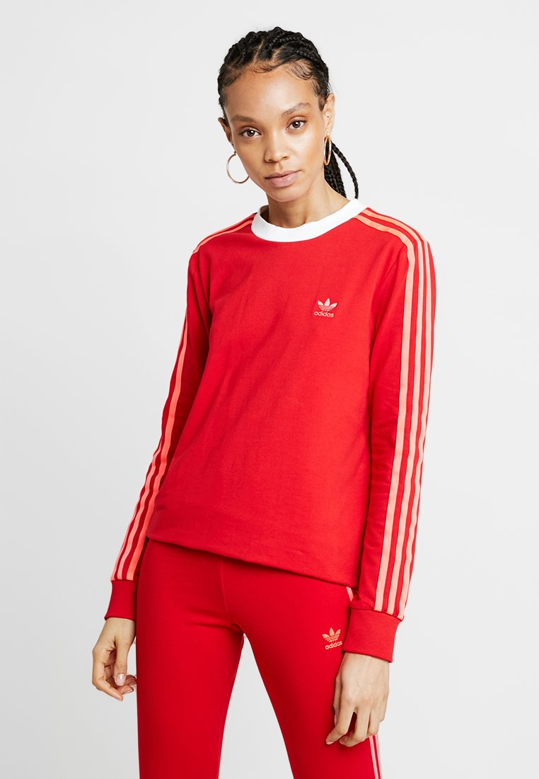 adidas Originals - ADICOLOR 3 STRIPES LONGSLEEVE TEE - T-shirt à manches longues - scarlet