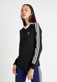adidas Originals - ADICOLOR 3 STRIPES LONGSLEEVE TEE - Langarmshirt - black - 0