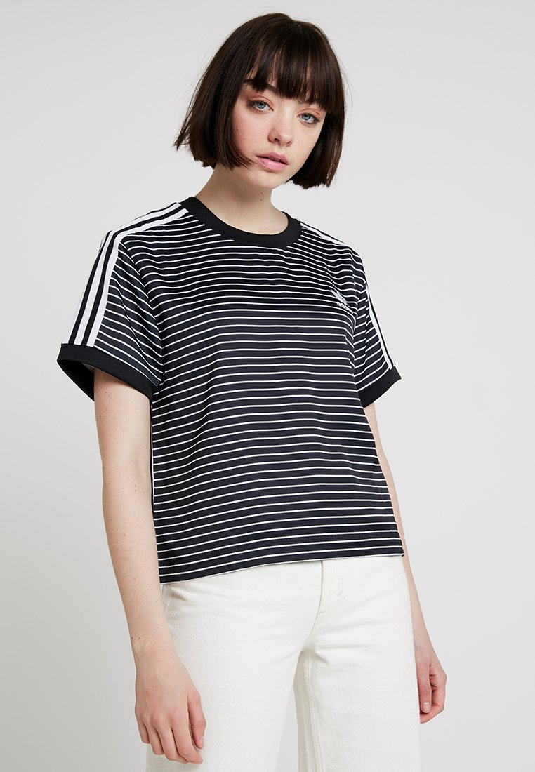 adidas Originals - STRIPES TEE - Bluse - black/white