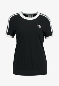 adidas Originals - ADICOLOR  STRIPES SHORT SLEEVE TEE - T-shirt z nadrukiem - black - 3