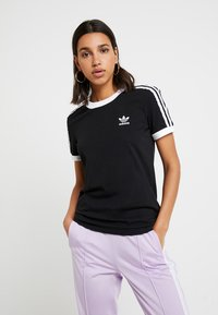 adidas Originals - ADICOLOR  STRIPES SHORT SLEEVE TEE - T-shirt z nadrukiem - black - 0
