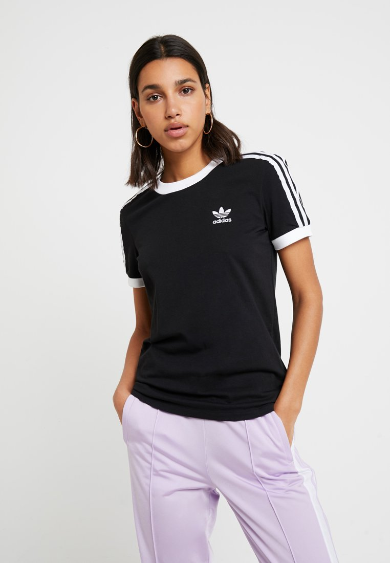 adidas Originals - ADICOLOR  STRIPES SHORT SLEEVE TEE - T-shirt z nadrukiem - black