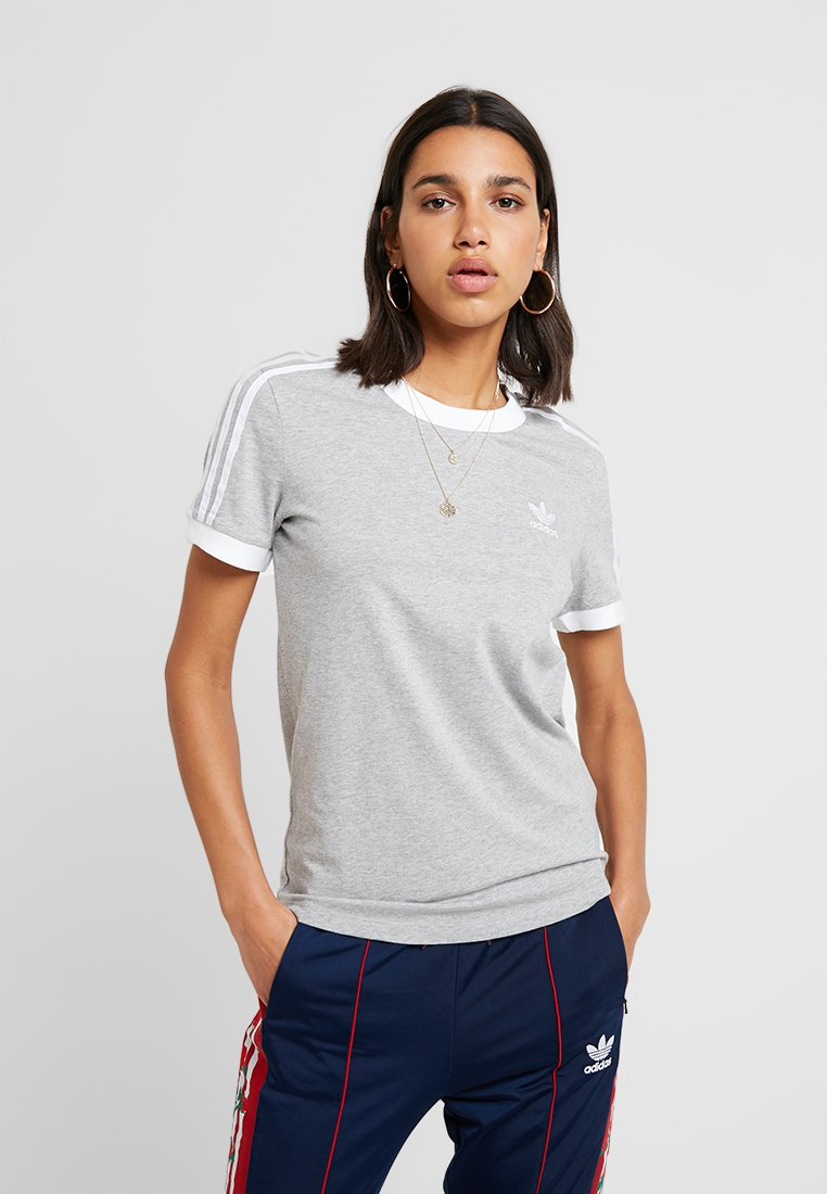 adidas Originals ADICOLOR 3 STRIPES TEE - T-shirt z nadrukiem - medium grey heather