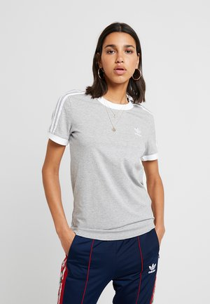 ADICOLOR 3 STRIPES TEE - T-shirt z nadrukiem - medium grey heather