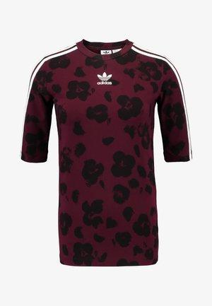 Print T-shirt - maroon black