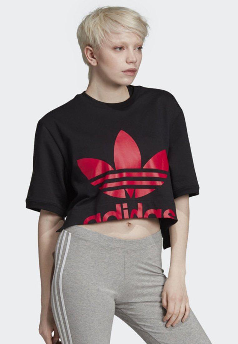 adidas Originals - CROPPED T-SHIRT - T-shirt con stampa - black