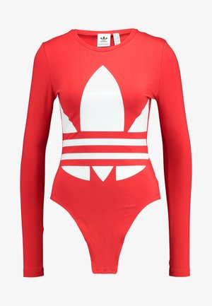 LOGO BODY - Long sleeved top - lush red/white