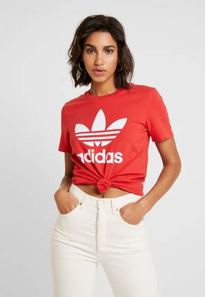 ADICOLOR TREFOIL SHORT SLEEVE TEE - T-shirt con stampa - lush red/white